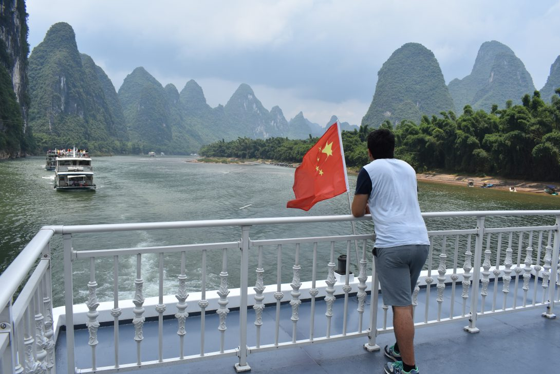 Student on Li River in China