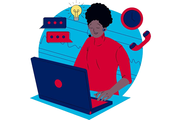 Clip Art of Student Applying To Jobs and Reflecting on Skills
