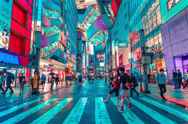 colorful Tokyo street